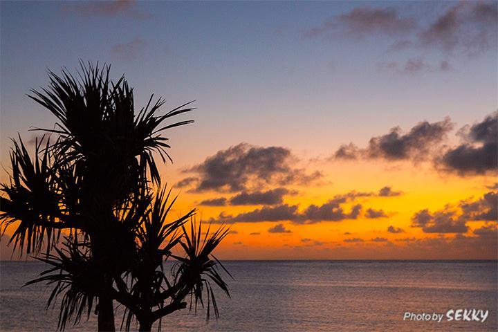 残波ビーチの夕焼け